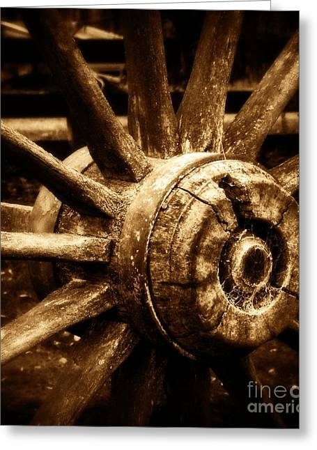 Wheel Pyrography Greeting Cards - The Forgotten1 Sepia Greeting Card by Willinda Swart