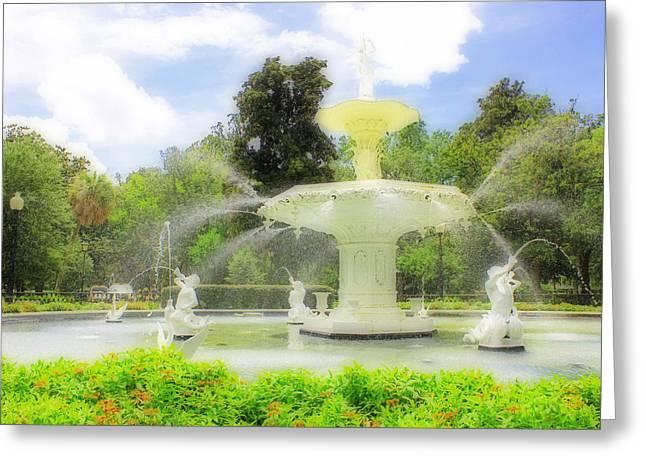 Savannah Parks Gardens Greeting Cards - The Forsyth Park Fountain Greeting Card by Iryna Burkova