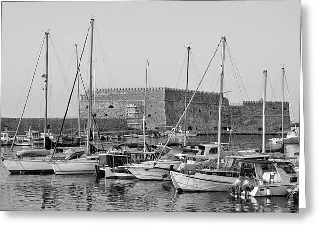 The Fortress And The Port In Iraklio City Greeting Card by George Atsametakis