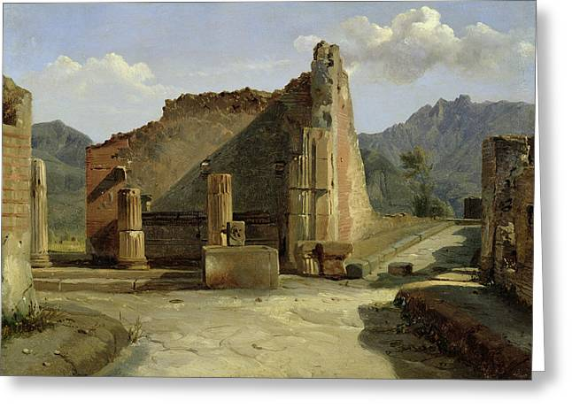 Ancient City Greeting Cards - The Forum Of Pompeii Oil On Canvas Greeting Card by Achille Etna Michallon