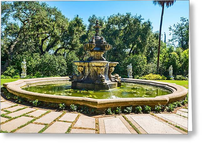 Three Tiered Fountain Greeting Cards - The Fountain - iconic fountain at the Huntington Library. Greeting Card by Jamie Pham