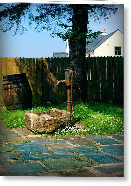Flagstone Greeting Cards - The fountain and the barrel Greeting Card by Alessandro Della Pietra