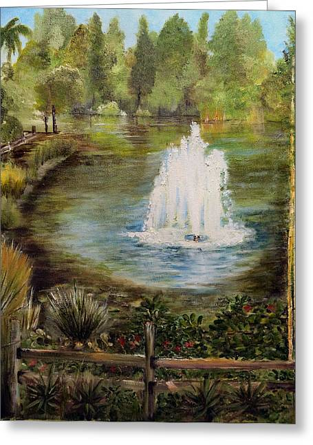 Bamboo Fence Greeting Cards - The Fountain Greeting Card by Arlen Avernian Thorensen