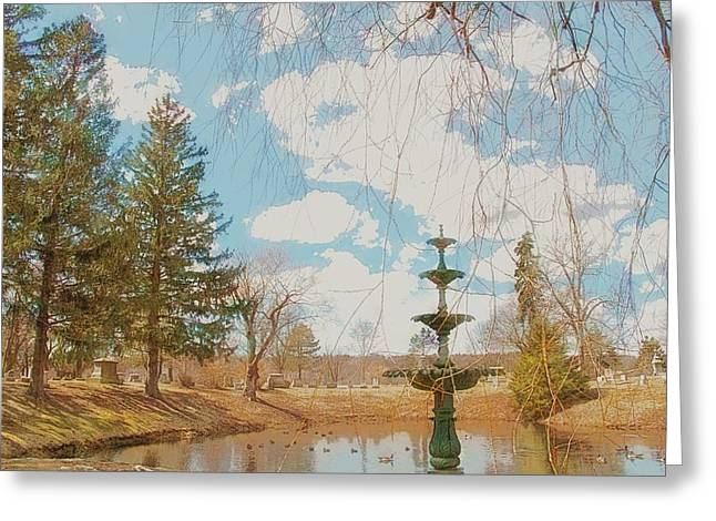 Elm Digital Art Greeting Cards - The Fountain at Elm Grove Greeting Card by Alice Gipson