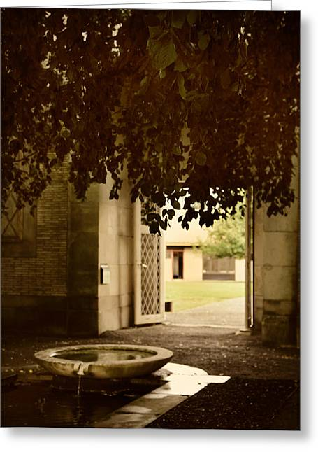 Entrance Door Greeting Cards - The Fountain Greeting Card by Jessica Jenney