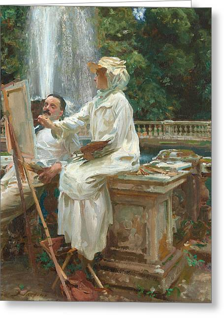 Edwardian Greeting Cards - The Fountain  Greeting Card by John Singer Sargent