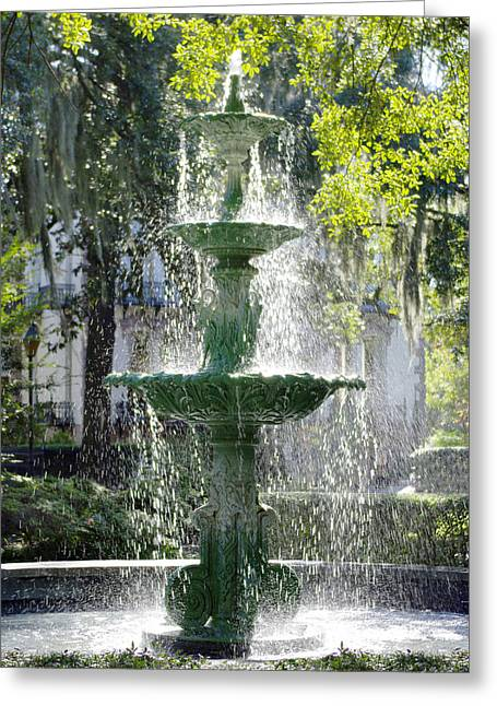 Savannahs Greeting Cards - The Fountain Greeting Card by Mike McGlothlen