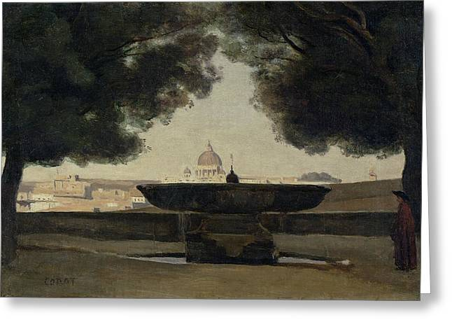 Fontaine Greeting Cards - The Fountain Of The French Academy In Rome, 1826-27 Oil On Canvas Greeting Card by Jean Baptiste Camille Corot