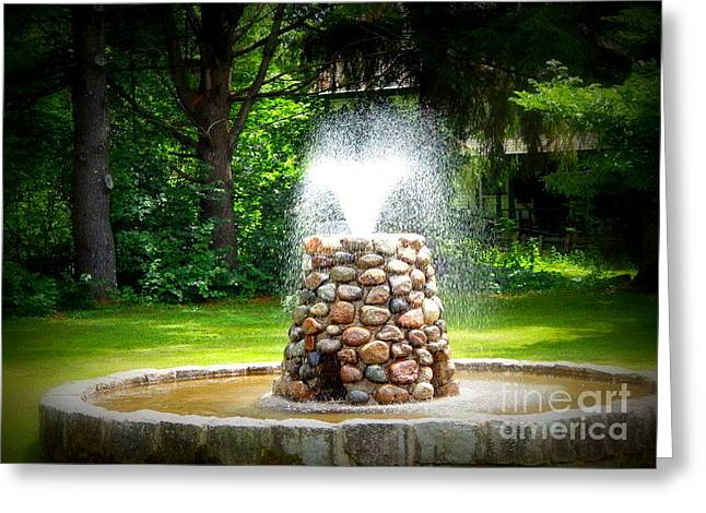 New England Village Greeting Cards - The fountain of youth Greeting Card by Karen Cook