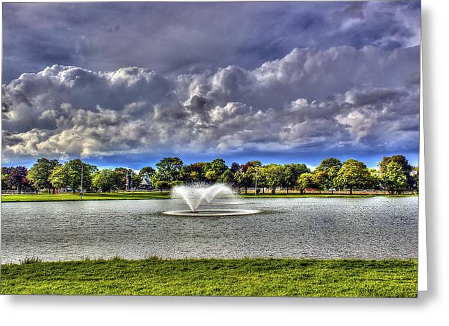 Cobbs Hill Greeting Cards - The Fountain Greeting Card by Tim Buisman