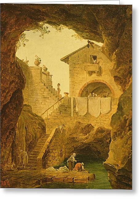 Pulley Greeting Cards - The Fountain Under The Grotto Oil On Canvas Greeting Card by Hubert Robert