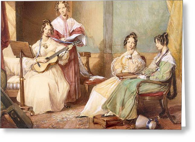 Guitar Drawings Greeting Cards - The Four Daughters Of Archbishop Greeting Card by George Richmond
