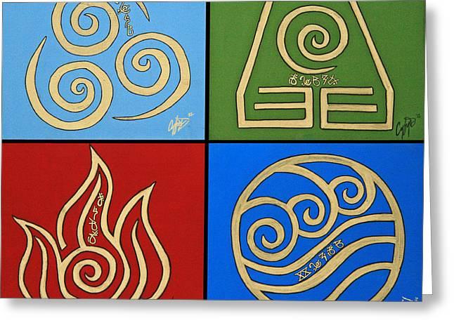 The Four Elements In Cy Lantyca Greeting Card by Cyryn Fyrcyd