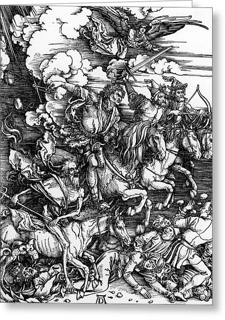 Woodcut Paintings Greeting Cards - The Four Horsemen of the Apocalypse Greeting Card by Albrecht Durer
