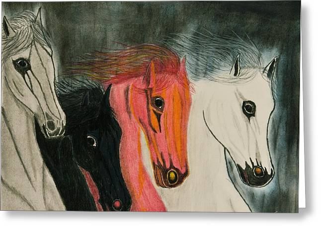 Bible Pastels Greeting Cards - The Four Horses Greeting Card by Sean Mitchell