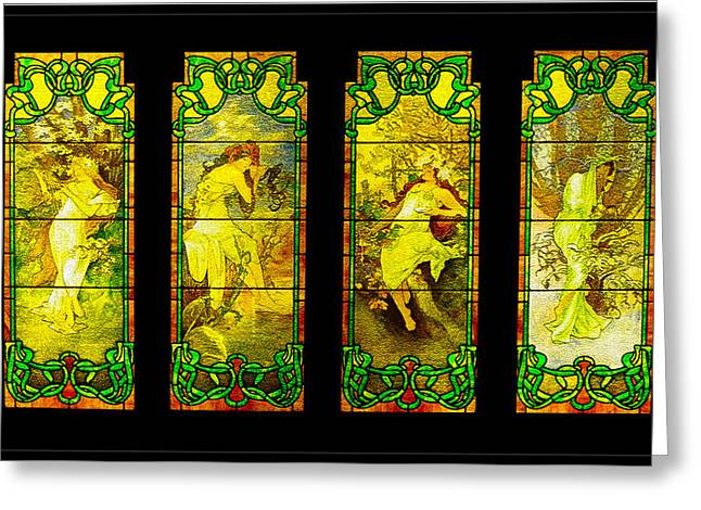 Maiden Mixed Media Greeting Cards - The Four Maidens... Greeting Card by Tim Fillingim