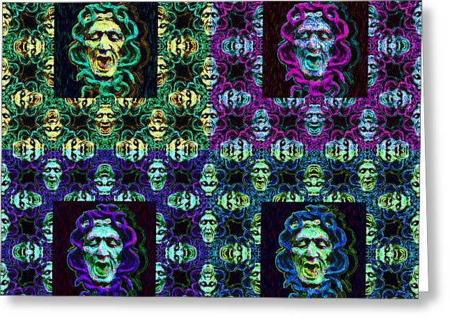 Medusa Digital Greeting Cards - The Four Medusas 20130131 Greeting Card by Wingsdomain Art and Photography