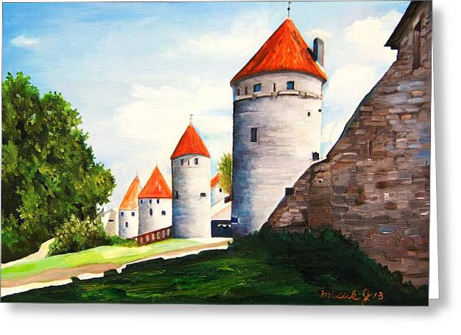 Medival Greeting Cards - The four old towers Estonia Greeting Card by Misuk  Jenkins