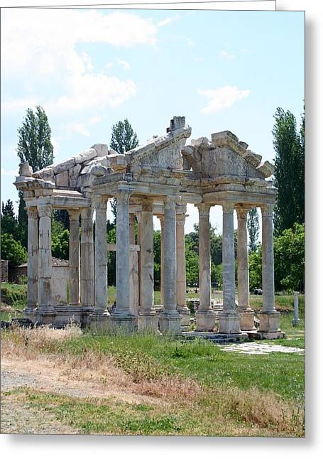 The Four Roman Columns Of The Ceremonial Gateway  Greeting Card by Tracey Harrington-Simpson