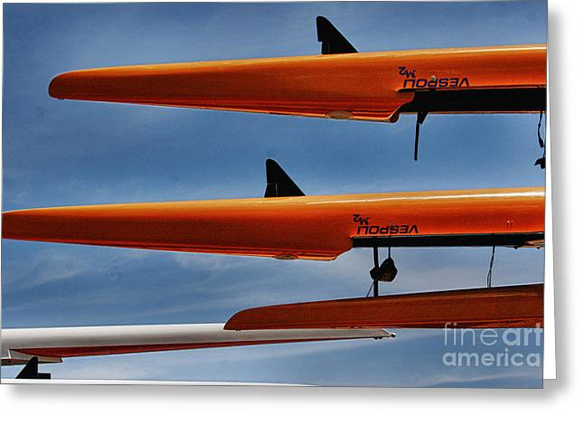 Tpep Images Greeting Cards - The four sculls Greeting Card by Tom Prendergast