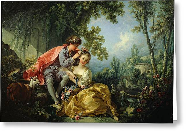 The Four Seasons. Spring Greeting Card by Francois Boucher