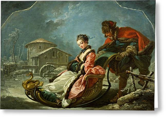 Francois Boucher Greeting Cards - The Four Seasons. Winter Greeting Card by Francois Boucher
