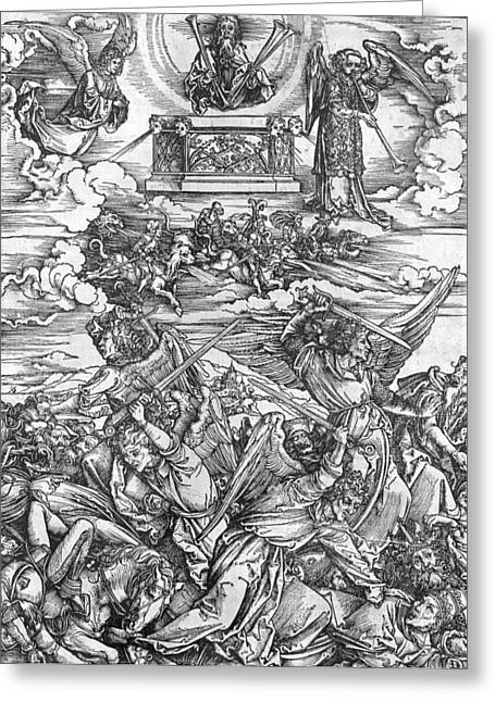 Violence Greeting Cards - The Four Vengeful Angels Greeting Card by Albrecht Durer or Duerer