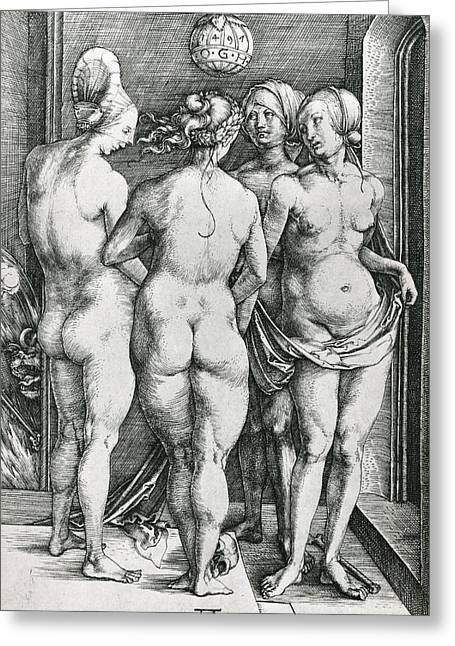 Buttocks Greeting Cards - The Four Witches Greeting Card by Albrecht Durer or Duerer