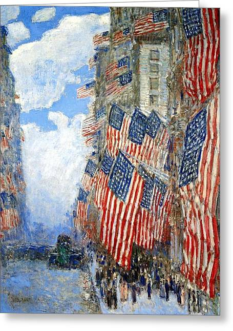 Frederick Digital Greeting Cards - The Fourth Of July Greeting Card by Frederick Childe Hassam