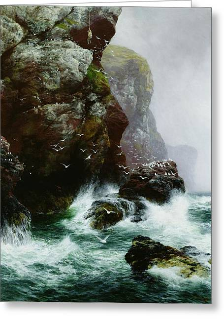 Cliffs Paintings Greeting Cards - The Fowlers Crag Greeting Card by Peter Graham