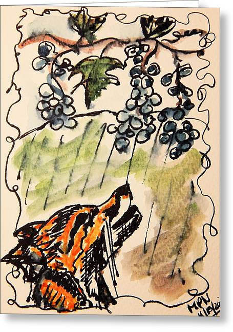 Moral Drawings Greeting Cards - The Fox and the Grapes Greeting Card by Mimulux patricia no