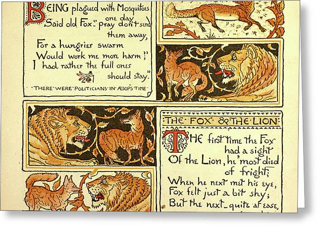 The Fox And The Mosquitoes The Fox And The Lion Greeting Card by English School