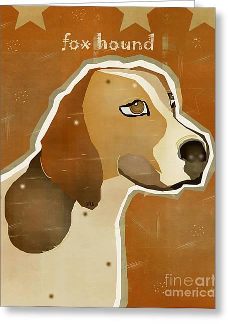 Portriats Greeting Cards - The Fox Hound  Greeting Card by Bri Buckley