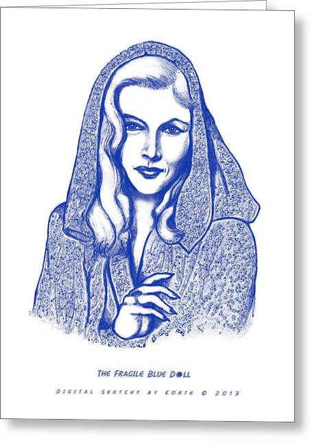 Film Noir Mixed Media Greeting Cards - The Fragile Blue Doll Greeting Card by Christopher Korte