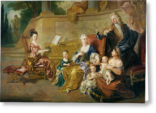 The Franqueville Family, 1711 Oil On Canvas Greeting Card by Francois de Troy