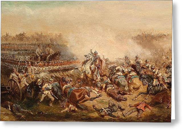 Infantryman Paintings Greeting Cards - The fray between Prussian and Austrian cuirassiers infantrymen Greeting Card by Alexander von Bensa
