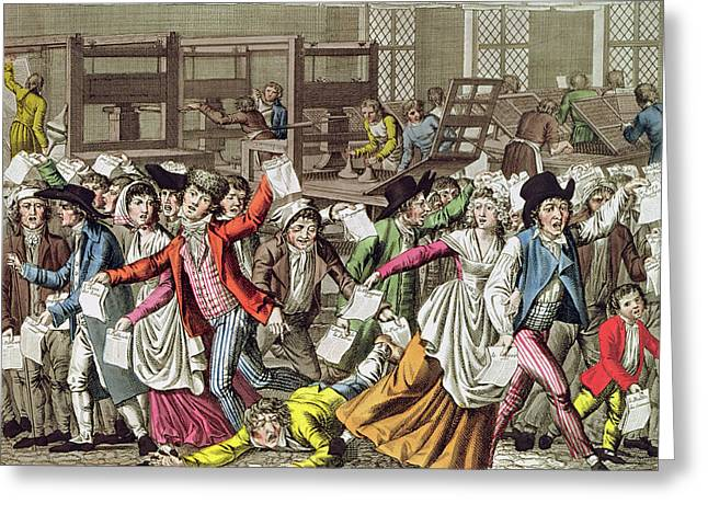 Broadsheet Greeting Cards - The Freedom Of The Press, 1797 Coloured Engraving Greeting Card by French School