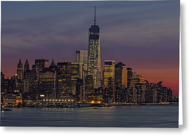 N.y.c. Greeting Cards - The Freedom Tower Dominates The Skyline Greeting Card by Susan Candelario