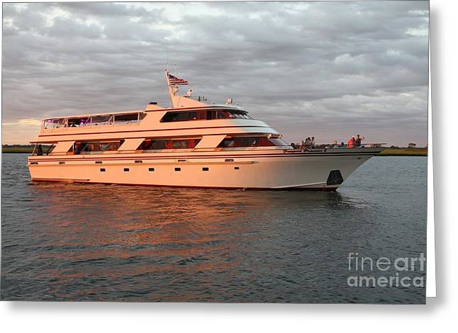 Boats In Reflecting Water Greeting Cards - The Freeport Princess Greeting Card by John Telfer