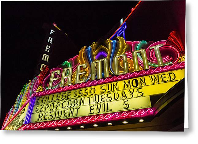 Movie Theater Greeting Cards - The Fremont Greeting Card by Caitlyn  Grasso