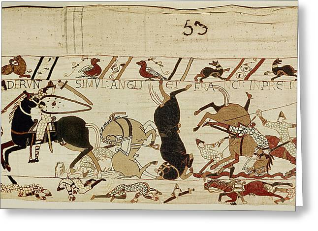 Combat Greeting Cards - The French And The English Fall Side By Side In Battle, From The Bayeux Tapestry Wool Embroidery Greeting Card by French School