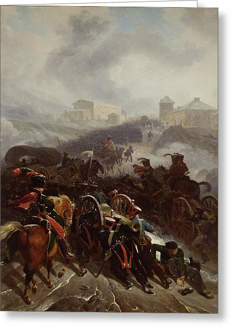 Pushing Greeting Cards - The French Army Crossing The Sierra De Guadarrama, Spain, December 1808, 1812 Oil On Canvas Greeting Card by Nicolas Antoine Taunay
