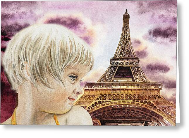 Child In Clouds Greeting Cards - The French Girl Greeting Card by Irina Sztukowski