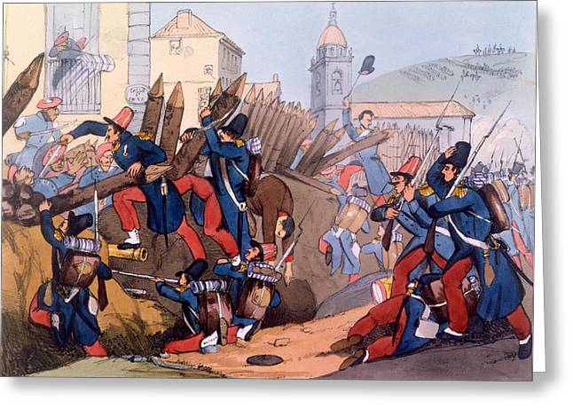 Civil Greeting Cards - The French Legion Storming A Carlist Greeting Card by English School