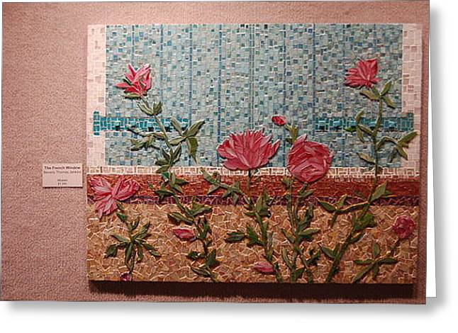 Aqua Glass Greeting Cards - The French Window Greeting Card by Beverly Thomas Jenkins