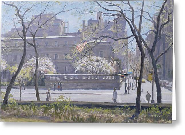 Spring Street Greeting Cards - The Frick Gallery, 1997 Oil On Canvas Greeting Card by Julian Barrow