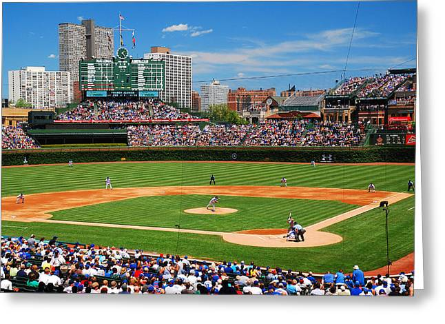 Cubs Baseball Park Greeting Cards - The Friendly Confines Greeting Card by James Kirkikis