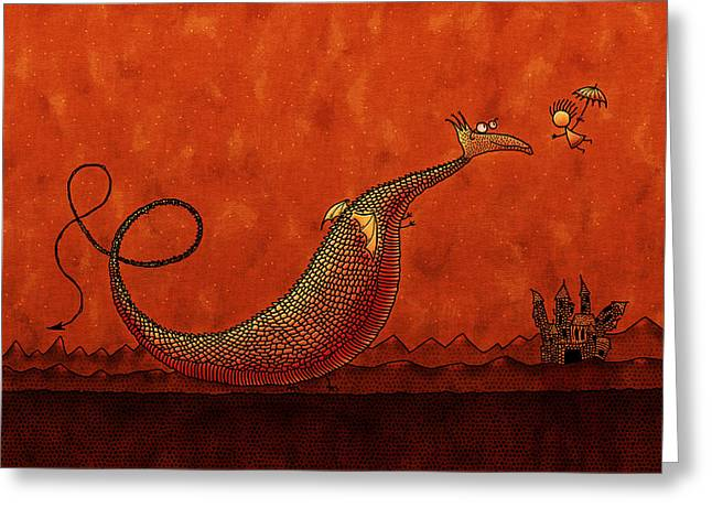 Flying Animal Digital Art Greeting Cards - The Friendly Dragon Greeting Card by Gianfranco Weiss