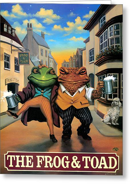 The Frog And Toad Greeting Card by Peter Green