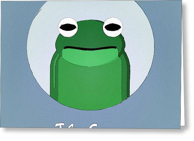 Suburban Posters Greeting Cards - The Frog Cute Portrait Greeting Card by Florian Rodarte